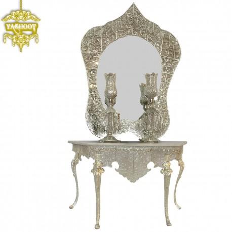 آینه و شمعدان و کنسول ملیله پروانه 90 4پایه